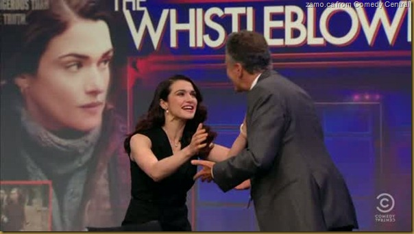 Rachel Weisz about to hug Jon Stewart on The Daily Show