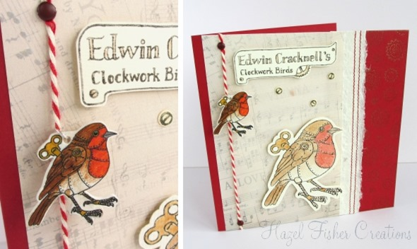 Steampunk Clockwork Robin Bird card made with stamps 2014Jan16