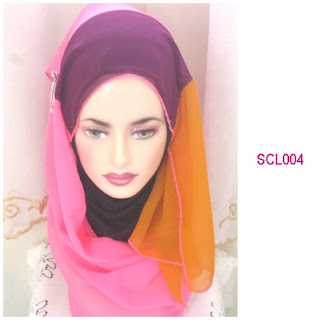 shawl chiffon 3 layer pink