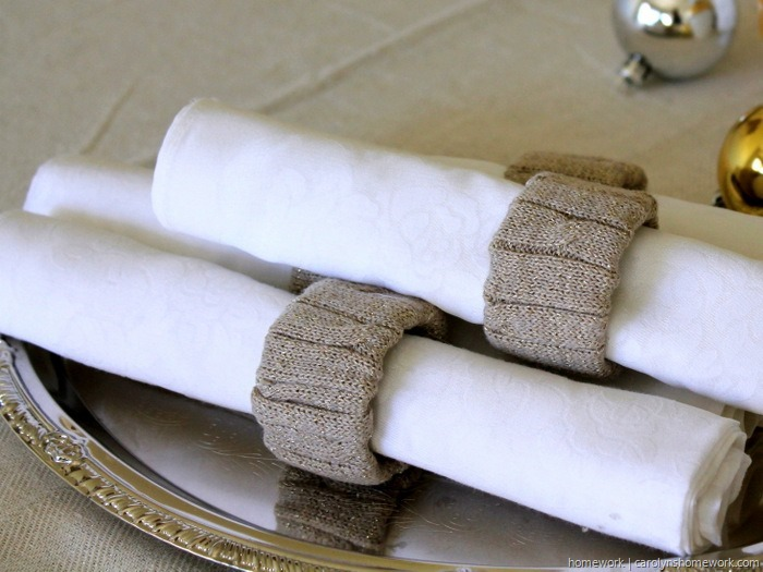 Upcycled Sweater Napkin Rings via homework (7)