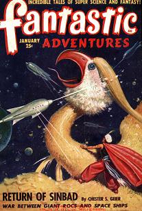 Cover by Robert Gibson James of Fantastic Adventures magazine, January 1949 issue. Image illustrates the story The Return of Sinbad by Chester S Geier.