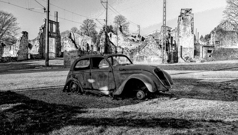 Rusted Car Oradour Sur Glane - HDR B&W 2