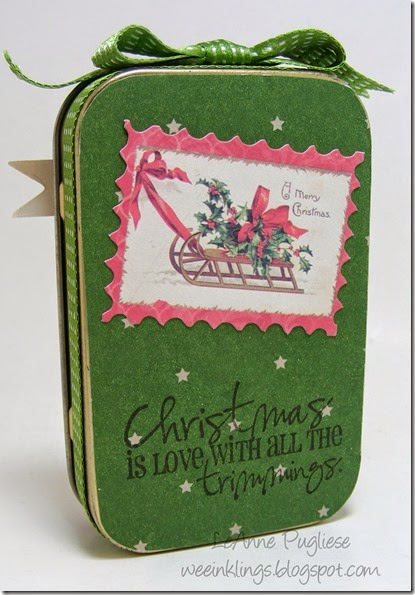 LeAnne Pugliese WeeInklings Back Vintage Christmas Altoid Tin Altered Art Crafty Secrets 2014