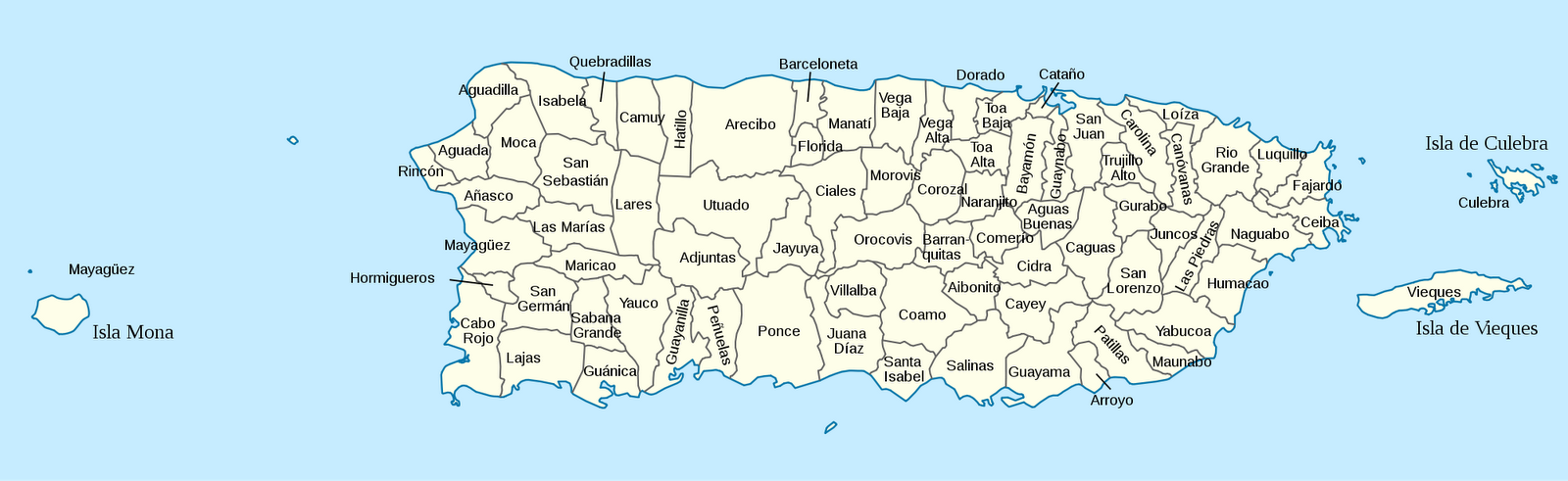Map of the municipalities of Puerto Rico