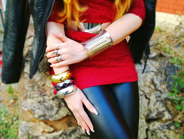 Silver Cuff Bracelet, Metallic Bangles and Silver Rings