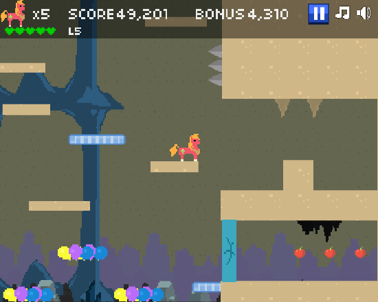 A gameplay screenshot of Adventure Ponies 2.