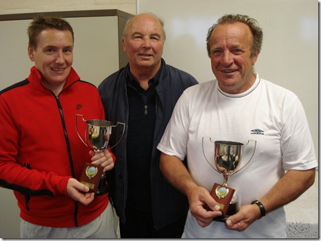 Men's Doubles Final - John White presents the trophies to Alan Whittingham and Chris Raiswell