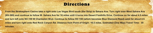 Directions - Red Rock Canyon