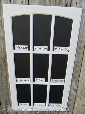 cupboard door chalkboard