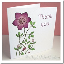 Clematis set of 4 small square note cards 4