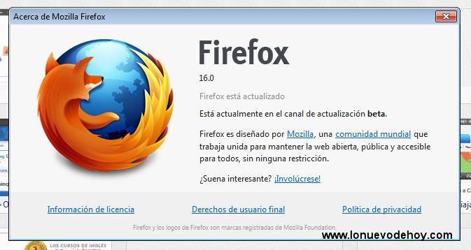 Firefox 16 en español