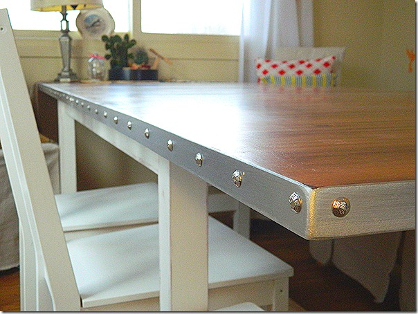 simple IKEA table update that takes a boring IKEA table and transforms it into a charming cottage style with industrial charm.
