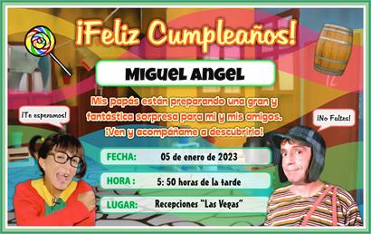 Tarjeta Del Chavo Del Ocho Invitaciones De Fiesta Infantil