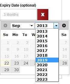 settings for expiry date