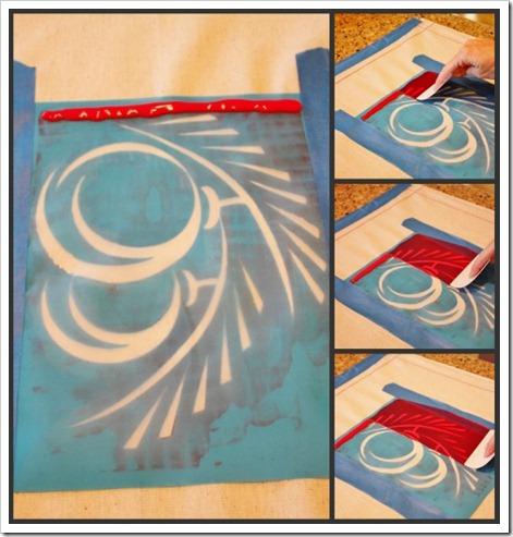 Pull paint through silk screen