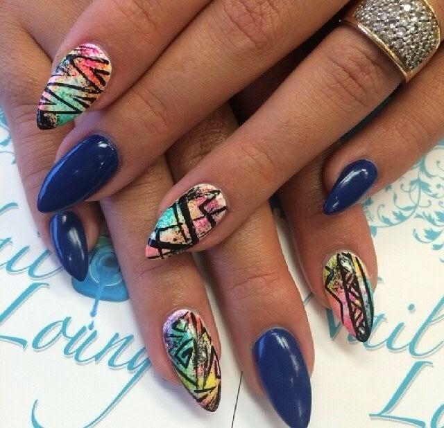 Best Blue Pointy Nail Art Ideas 2016 Fashion 2d