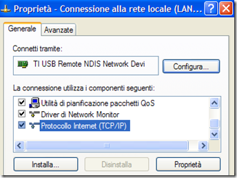 Protocollo Internet (TCP/IP) connessione internet