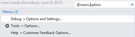 Visual Studio 2012 Quick Launch - Search for Options in Menu