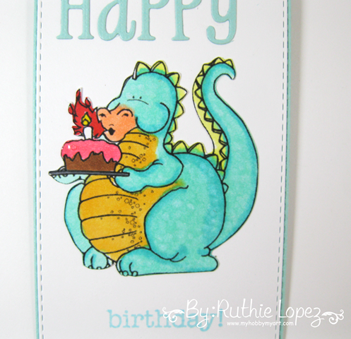 Tag. Happy Birthday.  Dragon Blowing Candles. Eureka Stamps. Ruthie Lopez 3
