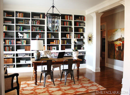 Home Office With Built In Bookcases