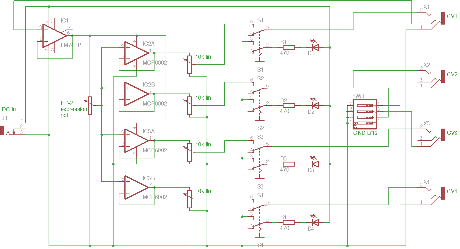 Zaardware Multi Output Expression Pedal Led Wiring Diagram Ic2 Is Powered From The 9v Dc Input And Buffers 56v Taken First Connector This Feeds Pot Powers Four
