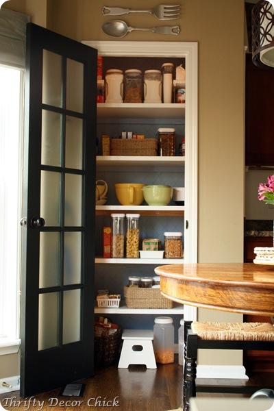 black glass door on pantry