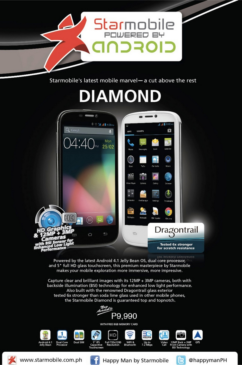 starmobile diamond android jelly bean dual core dragontail