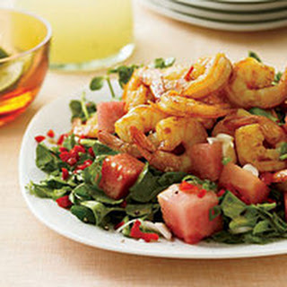 Grilled Hot-and-Sour Shrimp with Watermelon-Watercress Salad