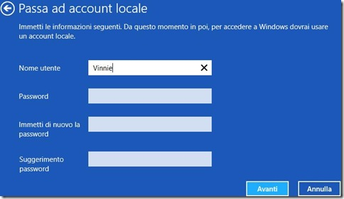 Windows 8 settare credenziali account locale