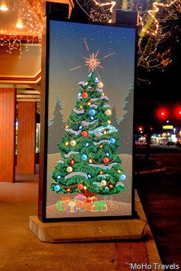Lighted musical Christmas panels in towntown Grants Pass
