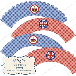 CW002 etsy 1 rule britannia british royal cupcake wrapper blue red
