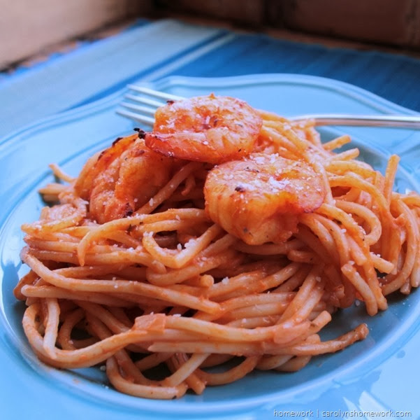 Spaghetti & Shrimp with Pink Sauce  via homework | carolynshomework.com