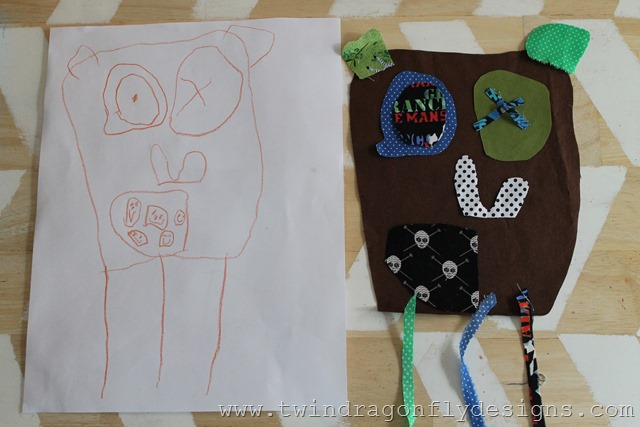 Fabric Piecing Art from a childs drawing (6)