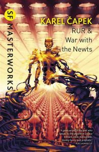 Cover of a collection of two stories of Karel Capek - RUR and War wih the Newts. Image illustrates RUR.