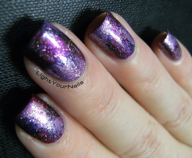 amethyst purple galaxy nail art