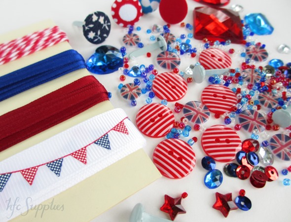 London Calling embellishment pack 1 buttons ribbon beads brads