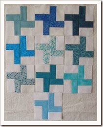 Rainbow Scrappy March 14 Teal cross blocks