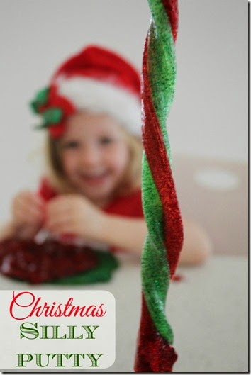 Christmas Silly Putty Recipe - what a fun sensory activity for December! The sparkly colors looks like so much fun for Christmas! This Christmas Activity for Kids is perfect for toddler, preschool, kindergarten, and even elementary age kids!