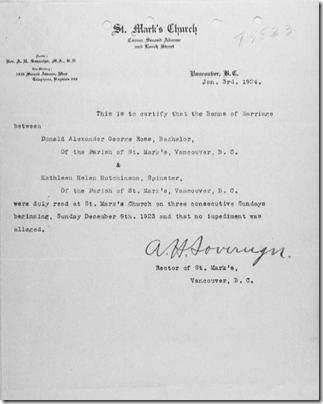 在婚姻记录中融入他的校长,证明禁区的一封信。