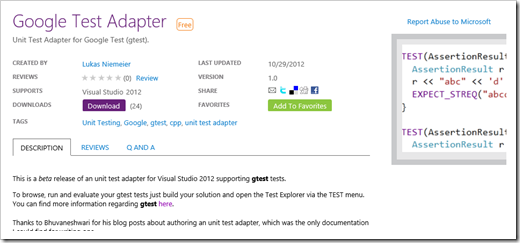 gtest C++ unit testing test adapter for Visual Studio 2012