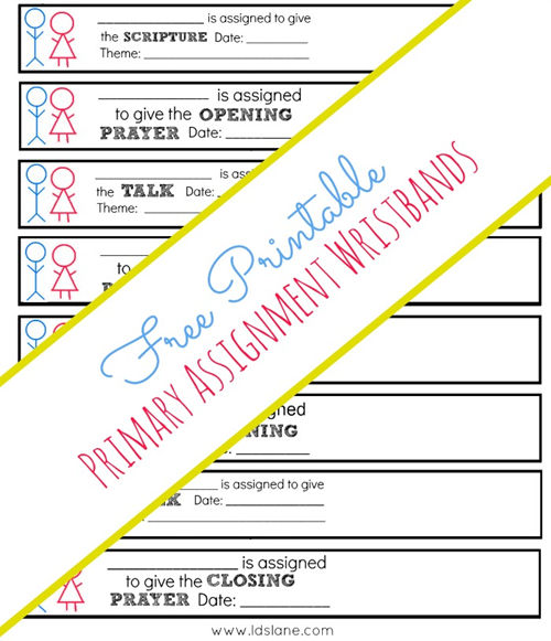 Free Printable Primary Wristband Reminders
