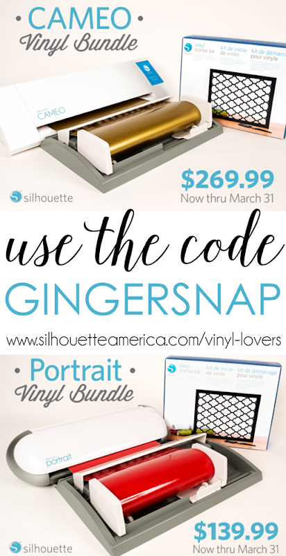 March 2015 Silhouette Promotion use the code GINGERSNAP httpwww.silhouetteamerica.comvinyl-lovers