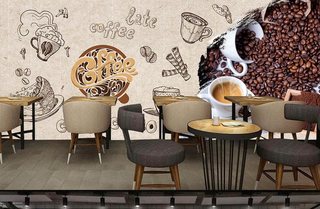Gợi ý trang trí quán cafe nhỏ với tranh tường và đàn ghi-ta