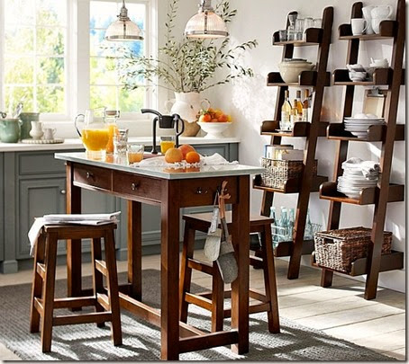cool-and-stylish-wooden-ladder-shelves-in-the-modern-kitchen