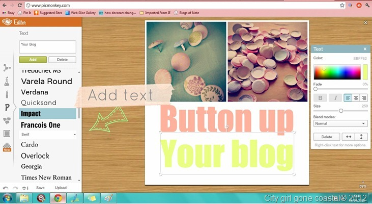 Adding text to your blog button collage