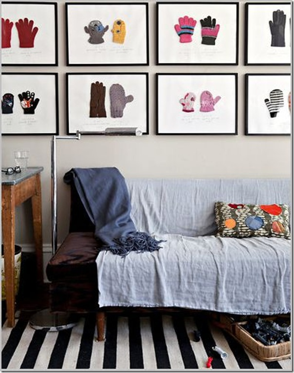 framed mittens gallery wall-so cute!