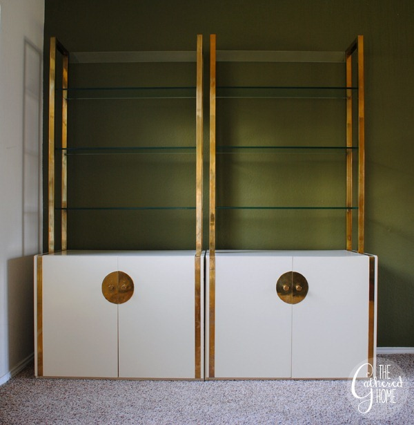 Brass and White Lacquer Etageres