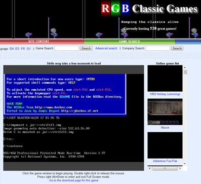 RGB Classic Games Brings DOS Emulation to Your Web Browser