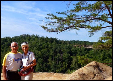 17f - Laurel Ridge Trail - Bill and Nancy at Natural Bridge from Lookout Point