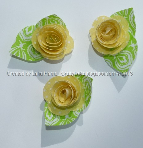 Lalia Harris created 3D fabric flowers using the CTMH Art Philosophy Cricut rolled roses
